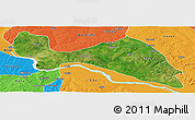 Satellite Panoramic Map of Mokwa, political outside