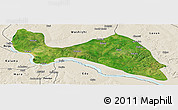 Satellite Panoramic Map of Mokwa, shaded relief outside