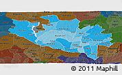 Political Shades Panoramic Map of Niger, darken