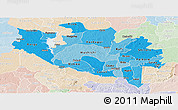 Political Shades Panoramic Map of Niger, lighten