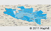 Political Shades Panoramic Map of Niger, shaded relief outside