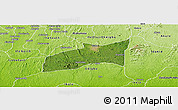 Satellite Panoramic Map of Ondo, physical outside
