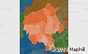 Political Shades Map of Oyo, darken