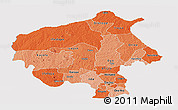 Political Shades Panoramic Map of Oyo, cropped outside