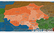 Political Shades Panoramic Map of Oyo, darken