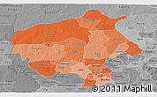 Political Shades Panoramic Map of Oyo, desaturated