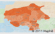 Political Shades Panoramic Map of Oyo, lighten
