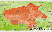 Political Shades Panoramic Map of Oyo, physical outside