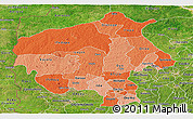 Political Shades Panoramic Map of Oyo, satellite outside