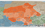 Political Shades Panoramic Map of Oyo, semi-desaturated