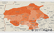 Political Shades Panoramic Map of Oyo, shaded relief outside