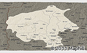 Shaded Relief Panoramic Map of Oyo, darken