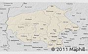 Shaded Relief Panoramic Map of Oyo, desaturated