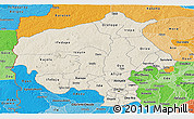 Shaded Relief Panoramic Map of Oyo, political shades outside