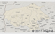 Shaded Relief Panoramic Map of Oyo, semi-desaturated