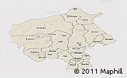 Shaded Relief Panoramic Map of Oyo, single color outside