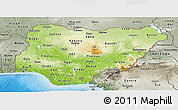 Physical Panoramic Map of Nigeria, semi-desaturated, land only