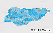 Political Shades Panoramic Map of Nigeria, cropped outside