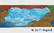 Political Shades Panoramic Map of Nigeria, darken