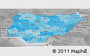 Political Shades Panoramic Map of Nigeria, desaturated