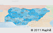 Political Shades Panoramic Map of Nigeria, lighten