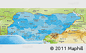 Political Shades Panoramic Map of Nigeria, physical outside