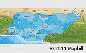 Political Shades Panoramic Map of Nigeria, satellite outside, bathymetry sea