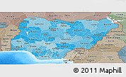 Political Shades Panoramic Map of Nigeria, semi-desaturated, land only