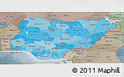Political Shades Panoramic Map of Nigeria, semi-desaturated