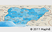 Political Shades Panoramic Map of Nigeria, shaded relief outside, bathymetry sea