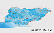 Political Shades Panoramic Map of Nigeria, single color outside