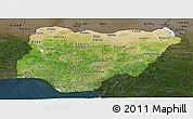 Satellite Panoramic Map of Nigeria, darken