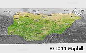 Satellite Panoramic Map of Nigeria, desaturated