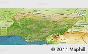 Satellite Panoramic Map of Nigeria, physical outside, satellite sea