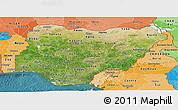 Satellite Panoramic Map of Nigeria, political shades outside, satellite sea