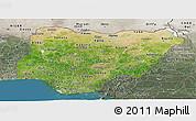 Satellite Panoramic Map of Nigeria, semi-desaturated, land only