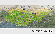 Satellite Panoramic Map of Nigeria, semi-desaturated