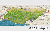 Satellite Panoramic Map of Nigeria, shaded relief outside, satellite sea