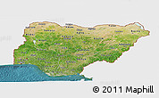 Satellite Panoramic Map of Nigeria, single color outside