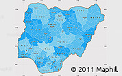 Political Shades Simple Map of Nigeria, cropped outside