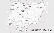 Silver Style Simple Map of Nigeria, cropped outside
