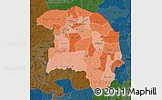 Political Shades Map of Sokoto, darken