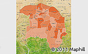 Political Shades Map of Sokoto, satellite outside