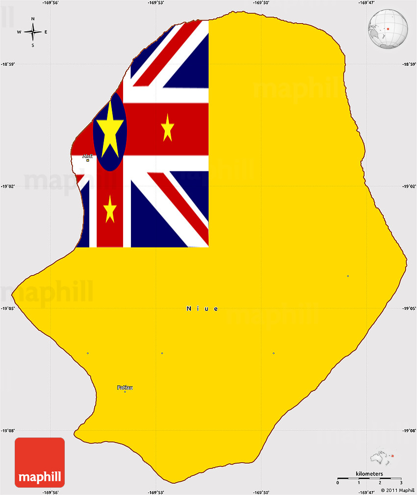 Flag Simple Map Of Niue - Niue map