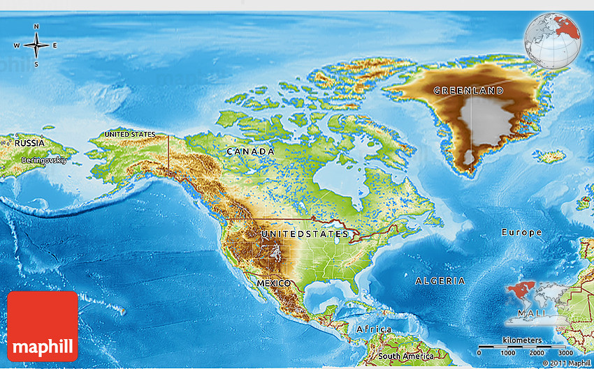 Physical D Map Of North America - United states of america physical map