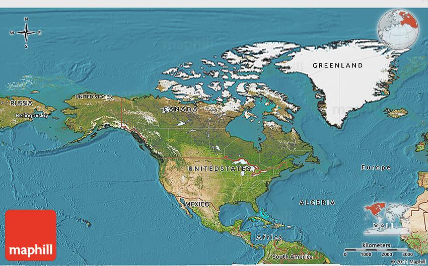 Satellite D Map Of North America - Map north america