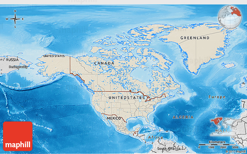 Shaded Relief 3d Map Of North America Desaturated Land Only