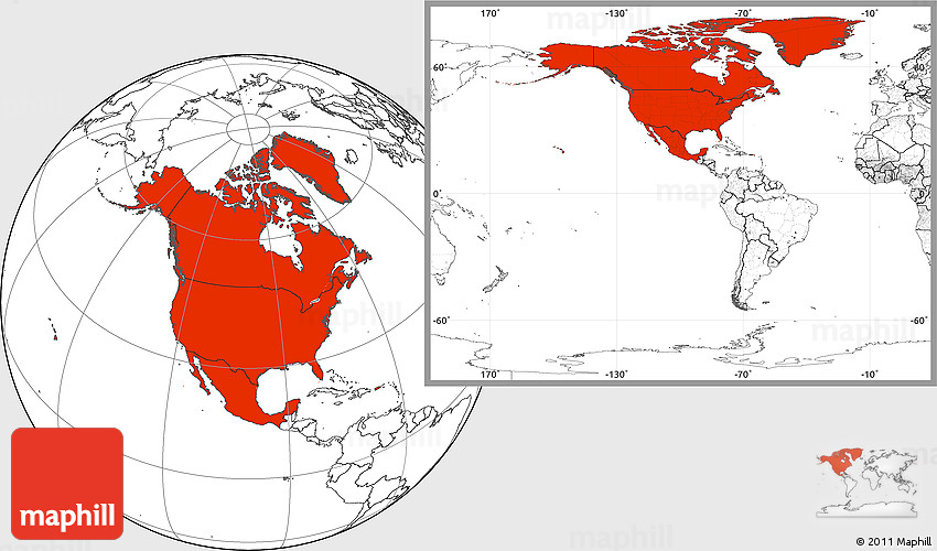 Blank Location Map of North America