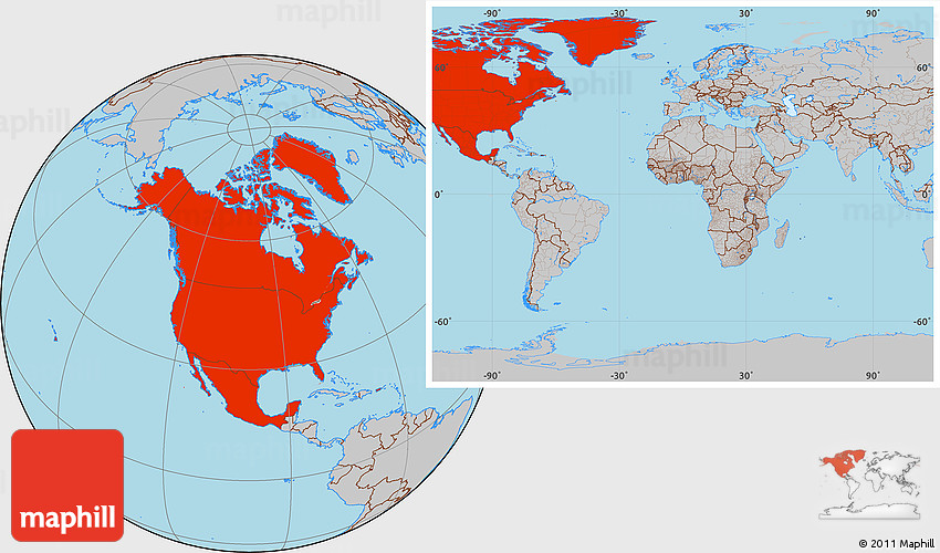 Gray Location Map of North America within the entire world