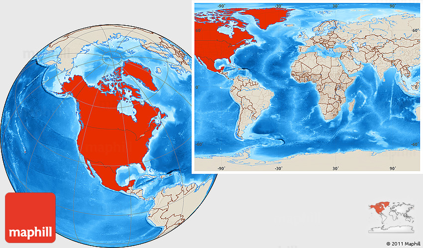 Shaded relief location map of north america within the entire world 2d gumiabroncs Choice Image